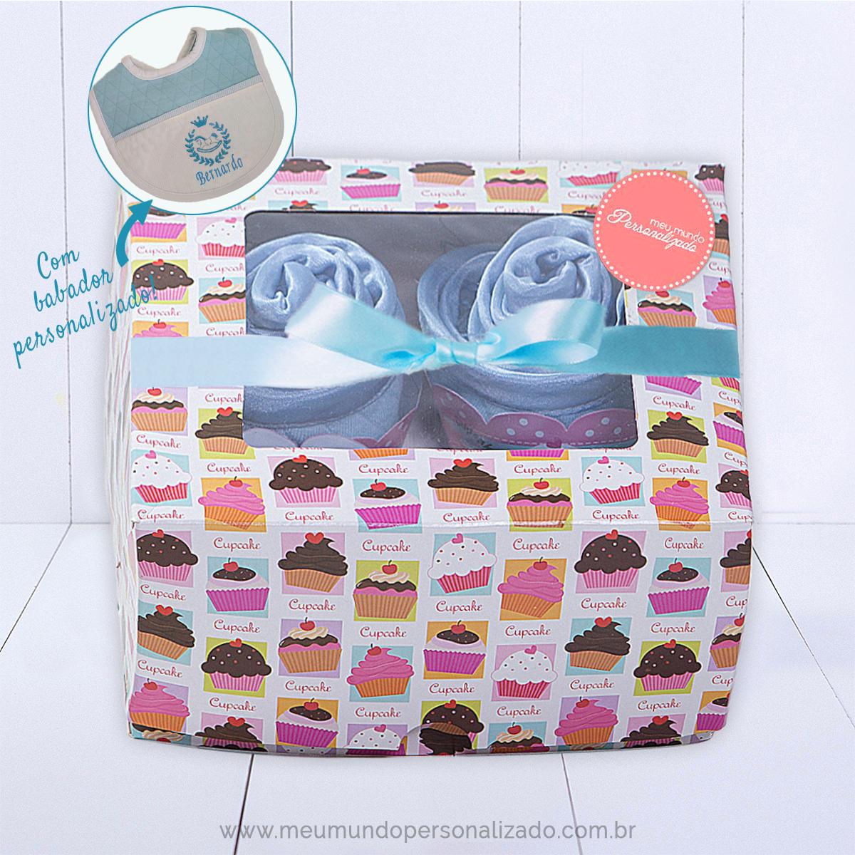 Kit presente para recém-nascido menino com bodies babador personalizado e paninhos de boca