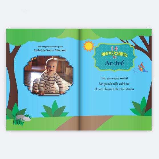 Folha de rosto do livro E o Meu Aniversario com foto da criança