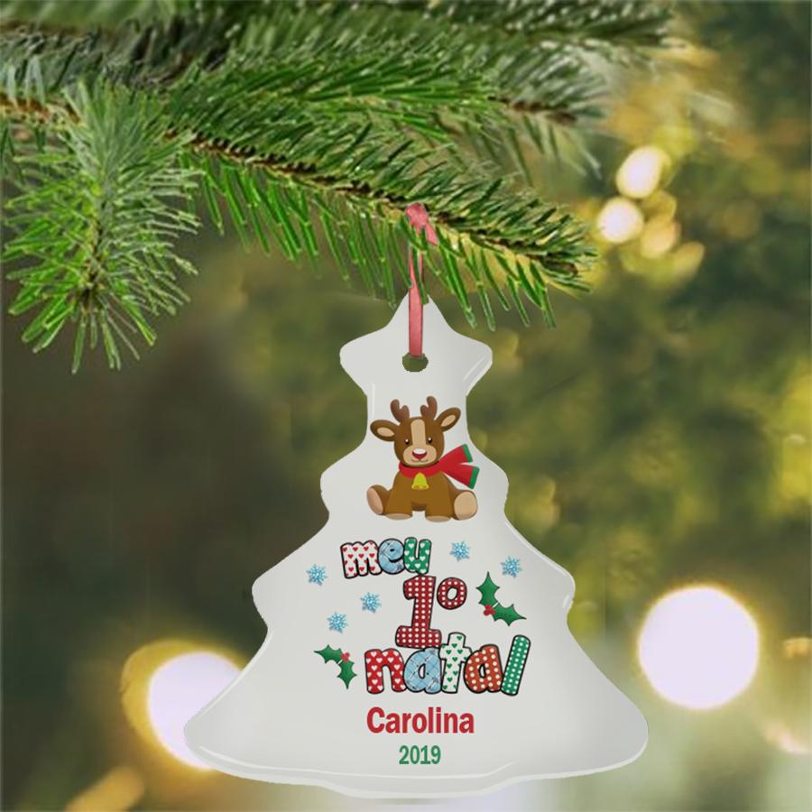 Enfeite personalizado para a árvore de Natal para o 1º natal do bebê