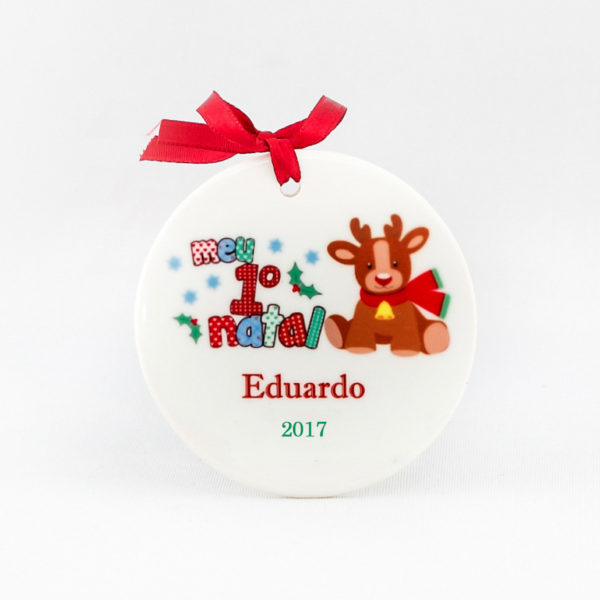 Enfeite para arvore de Natal personalizado – Meu 1o Natal – Rena