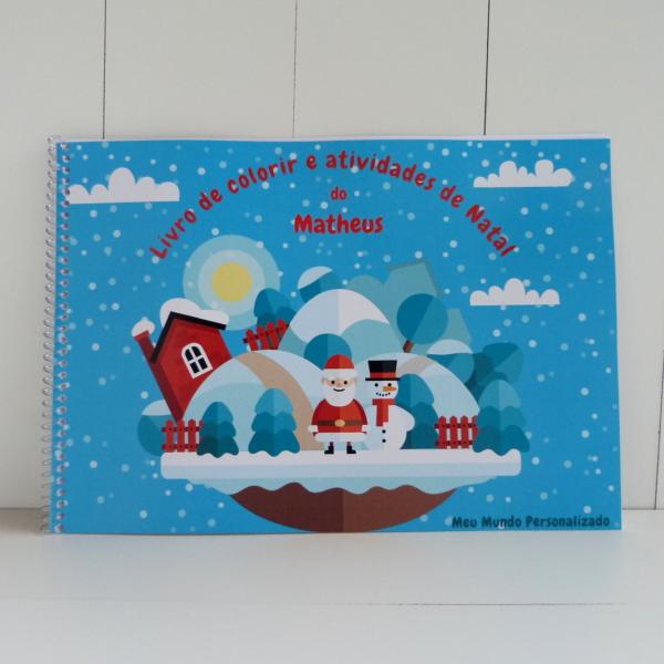 Livro de colorir atividades natal personalizado capa
