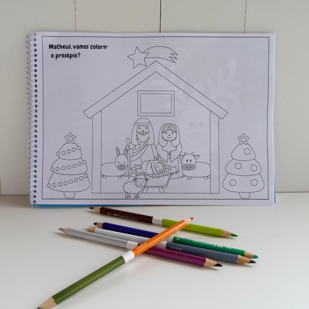 Livro de colorir atividades natal personalizado presepio