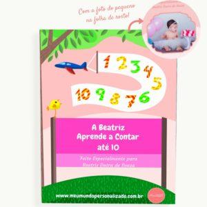 Capa do livro infantil personalizado Eu Aprendo a Contar. Presente orginal para menina de um ano