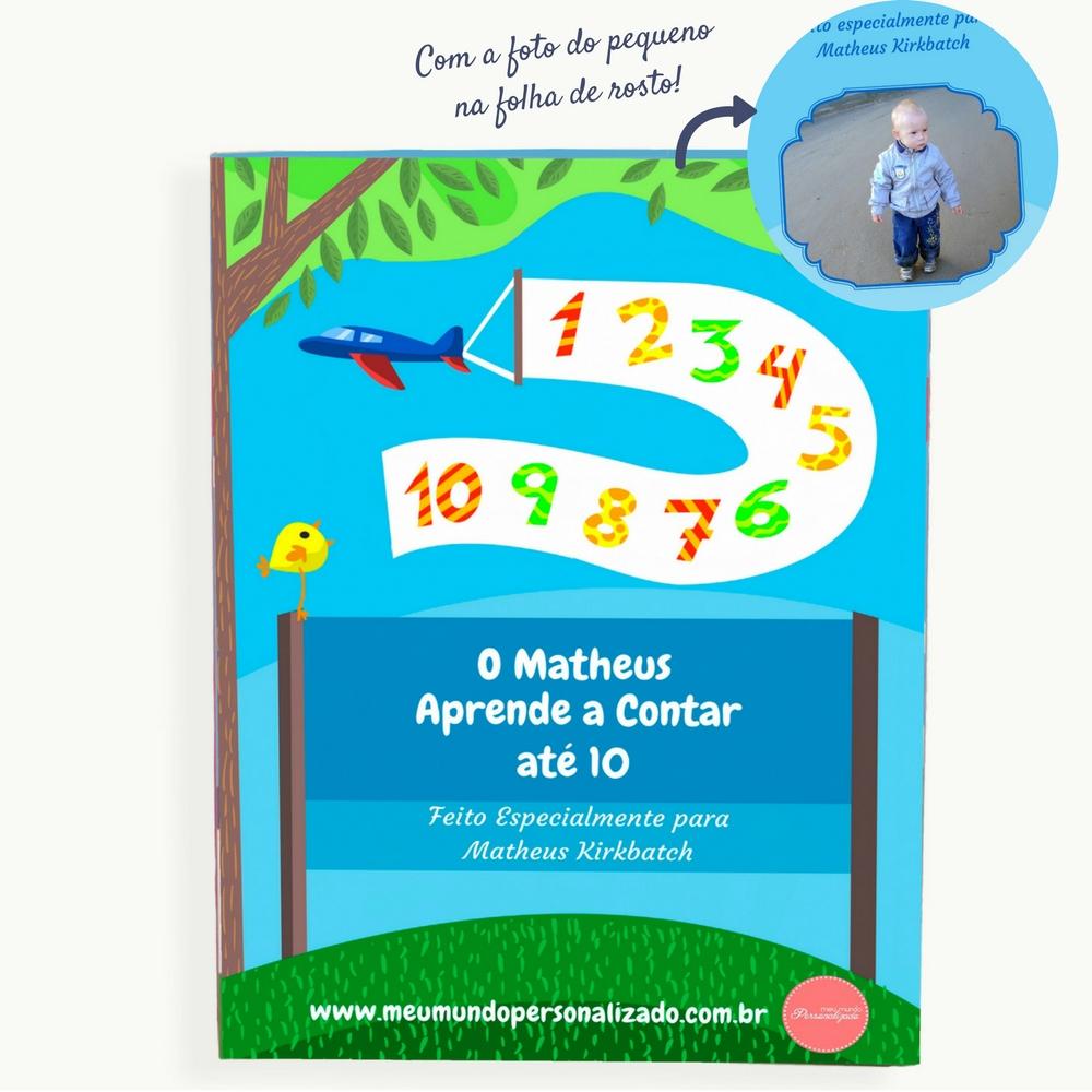 Capa do livro infantil personalizado Eu Aprendo a Contar. Presente orginal para crianças
