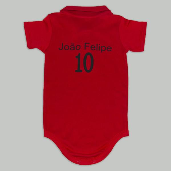 Body personalizado vermelho e prato – tras (fundo cinza)