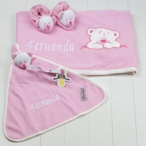 Kit presente bebê do ursinho rosa para bebê menina recém-nascido maternidade