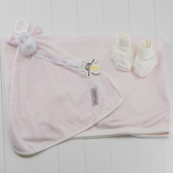 Kit Bebe Recem-Nascido Listrado Rosa 3