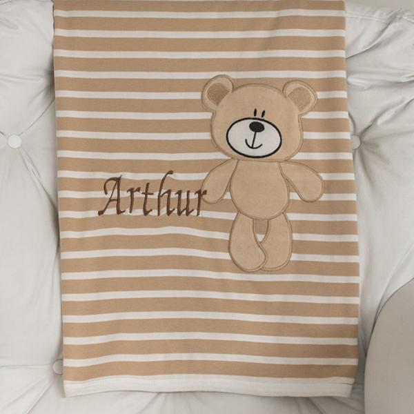 Manta Urso Marrom com listras para bebe Zip Toys
