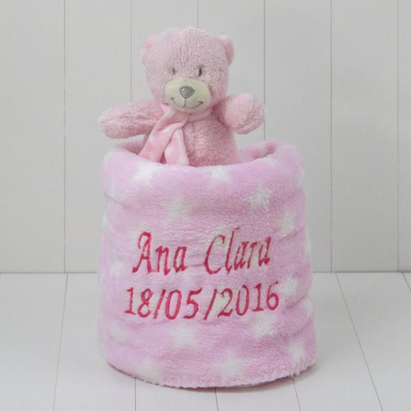 Manta estrela com ursinha rosa