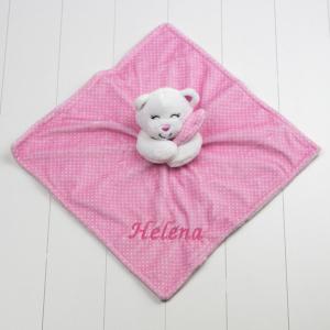 Naninha de ursinho rosa poa. Presente para bebê recém-nascido