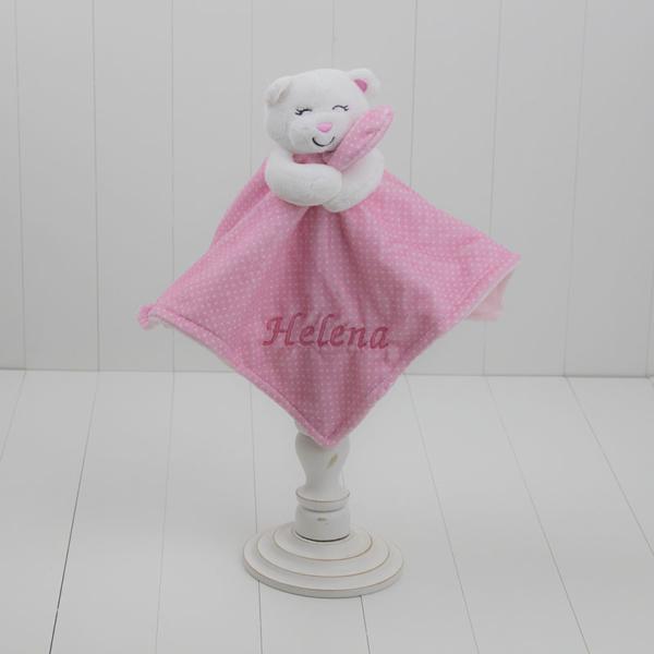 Naninha ursinho agarradinho poa rosa