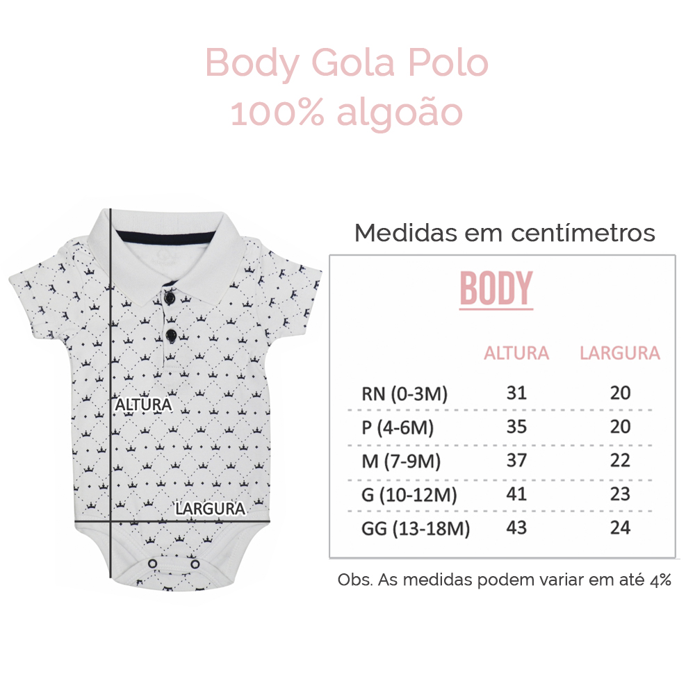 tabela tamanhos - body gola polo