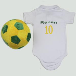 Kit Body e bola pelucia para bebe com tema olimpiadas Brasil