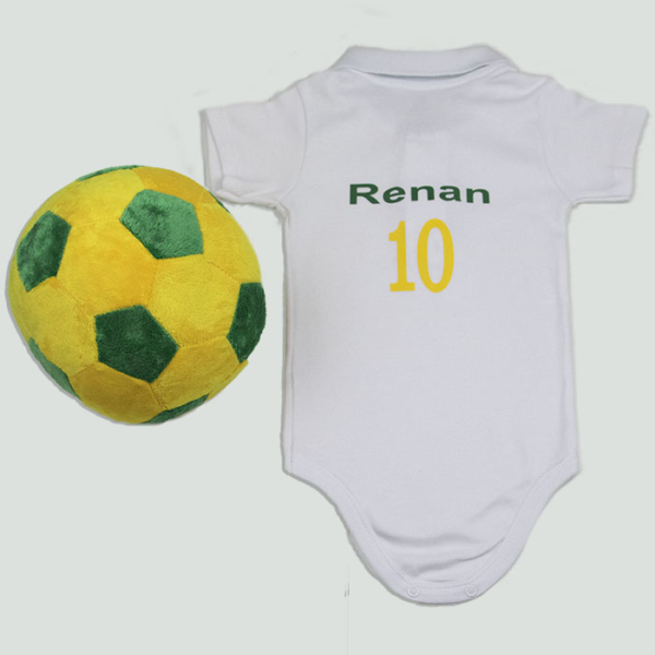 Body personalizado Brasil e bola (fundo cinza)
