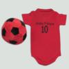 Roupa personalizada e bola de pelucia para novo bebe. Presente para cha de bebe, maternidade e aniversario de 1 ano