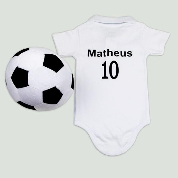 Body personalizado preto e branco e bola – tras (fundo cinza)