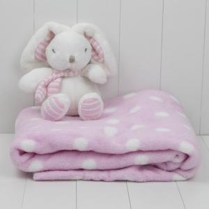 manta rosa felpuda e pelucia do coelho para dar de presente a recem nascido e futura mamae