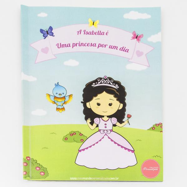 Livro Infantil Personalizado Eu sou uma Princesa – capa – cabelo encaracolado castanho FINAL