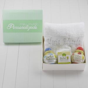Kit presente bebe banho com toalha shampoo condicionador e sabonete Bebe Natureza