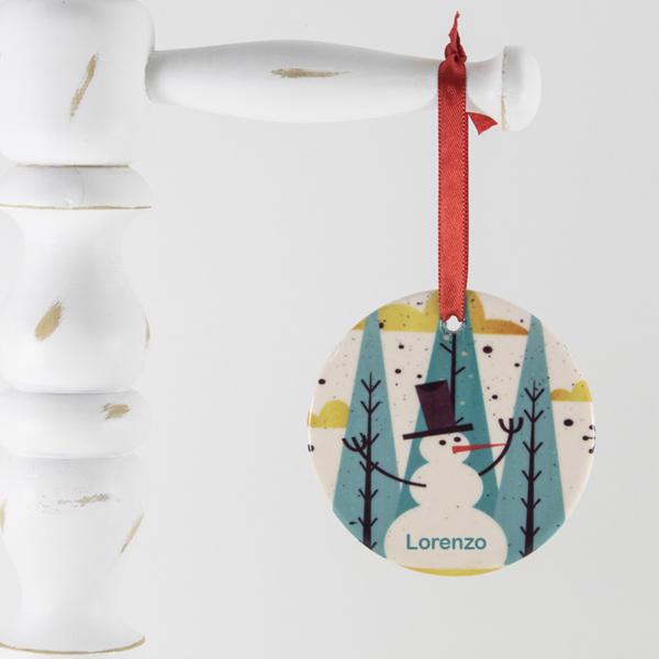 Enfeite para arvore de Natal personalizado – Boneco de neve estilizado