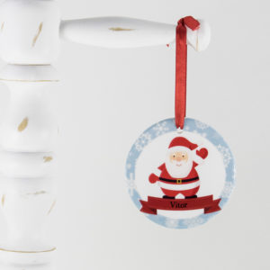 Presente criativo para bebês e crianças no Natal. Enfeite personalizado para a árvore