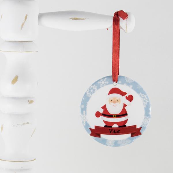 Enfeite para arvore de Natal personalizado – Papai Noel dando tchau
