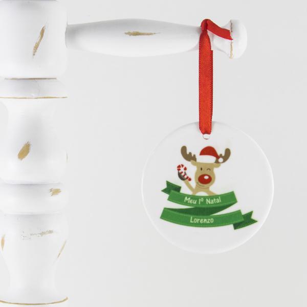 Enfeite para arvore de Natal personalizado – Rena Meu Primeiro Natal