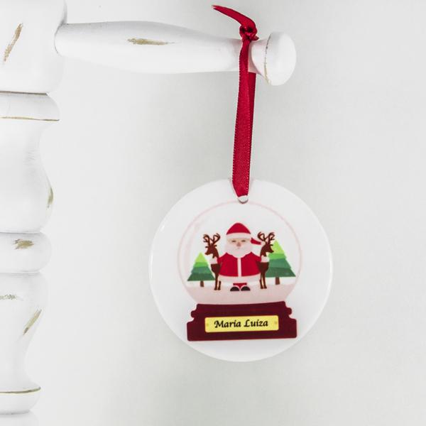 Enfeite para arvore de Natal personalizado bola de neve