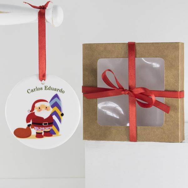 presente original diferente e único para nenem ou criança no Natal. Enfeite personalizado papai noel com prancha de surf