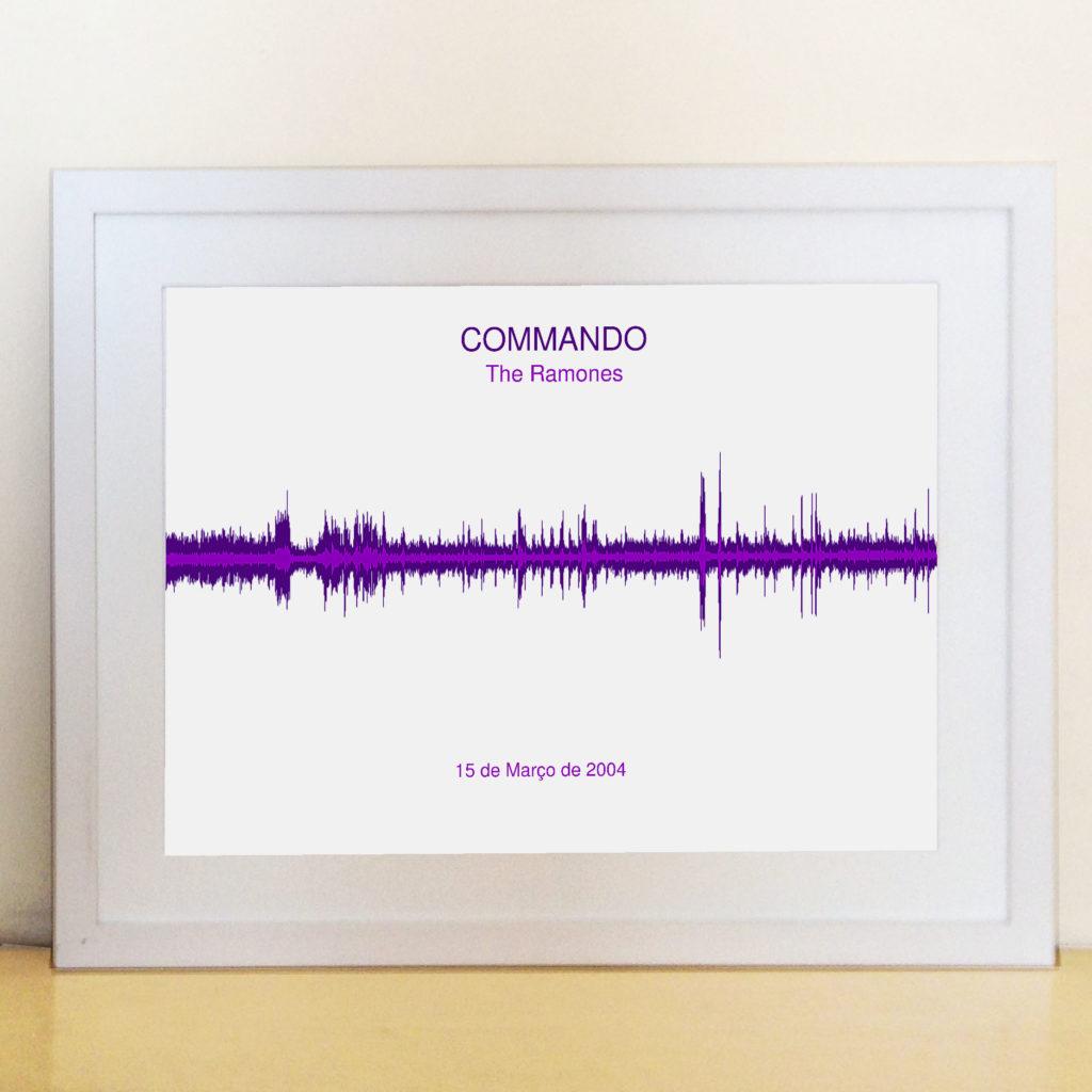 Quadro Onda Sonora – Moldura Branca – Impressao roxa – The Ramones – Commando