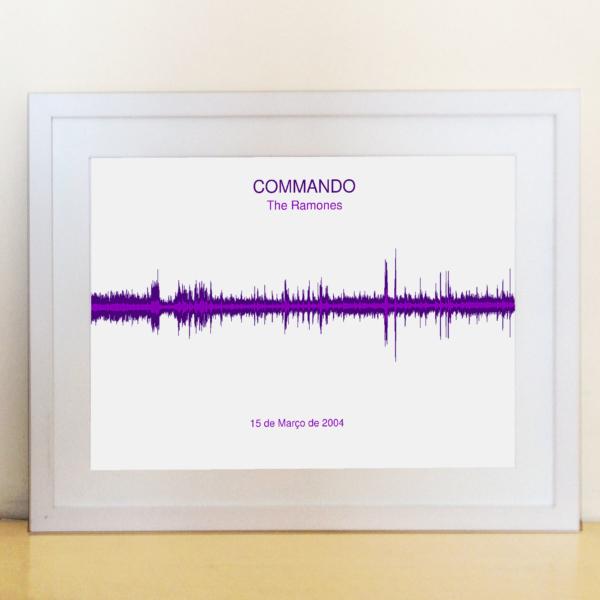Quadro com a onda sonora da música Commando dos Ramones para dar de presente
