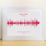 Quadro Onda Sonora – Moldura Branca – Impressao vermelha