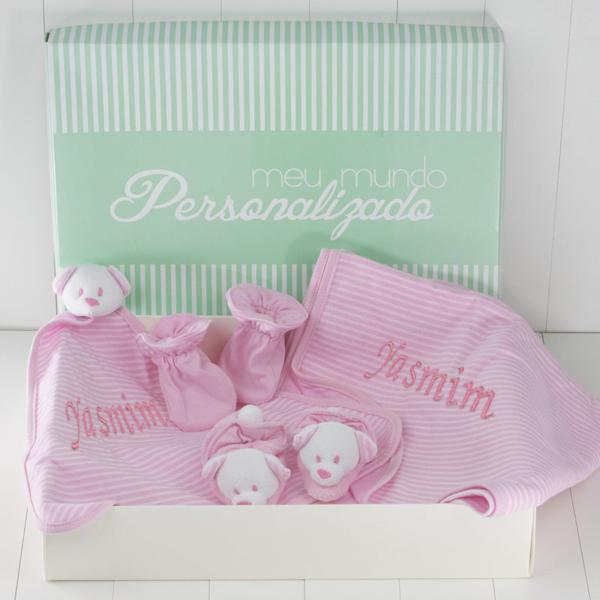 Kit Bebe Dupla Face Rosa – com bordado – na caixa