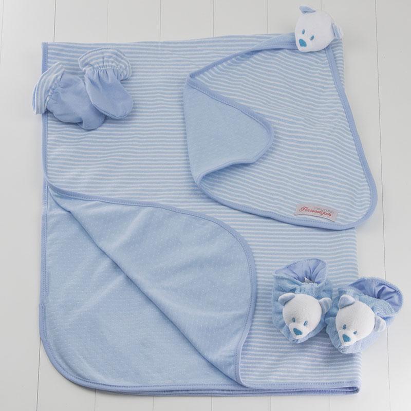 Kit bebe recem-nascido listrado ursinho com pantufa, luva, manta e naninha azul meninos