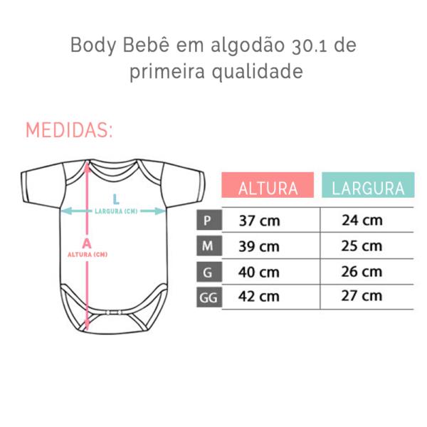 Bodies em algodao – TABELA DE MEDIDAS (medidas dos bodies do atacado de camisetas)