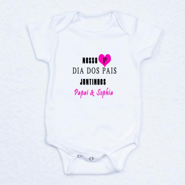 Body (sozinho – produto) bebe recem-nascido – Dia dos Pais – rosa