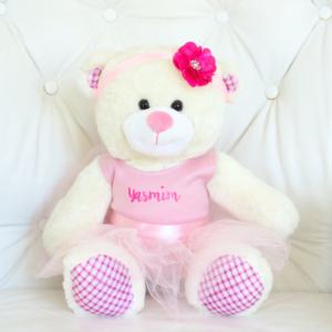 Ursa de pelucia bailarina personalizada para presentear bebes e criancas