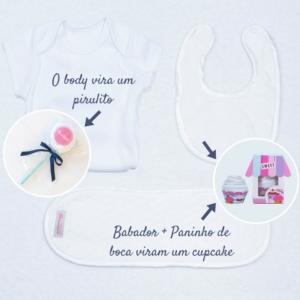 Babador, toalhinha de boca, e body bebe para cesta maternidade azul marinho e branca