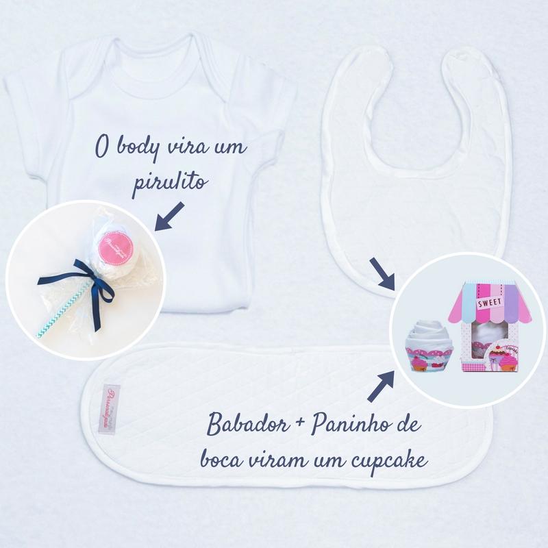 Body, babador e paninho de boca com cupcake e pirulito para cestas e kits bebe – Azul Marinho e branca
