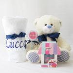 Cesta Maternidade Azul Marinho e Branca – Ursinho de pelucia, manta, body e babador sem a cesta