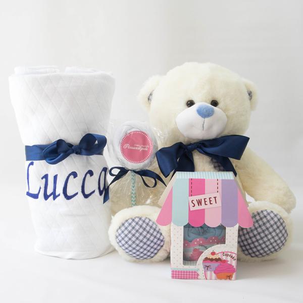 Conteuda da cesta bebe azul marinho e branca