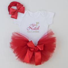 Body bebe personalizado, saia tule vermelha e faixa de cabelo com laço de fita para bebe. Presente para bebe