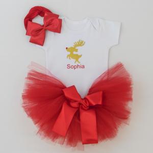 Body bebe personalizado, saia tule vermelha e faixa de cabelo com laço de fita para bebe. Presente de Natal para bebe