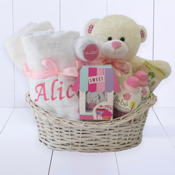 Cesta Nascimento Bebe Com Kit Banho Rosa e Branco