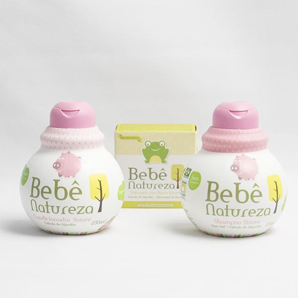 Cesta Nascimento Bebe Meninas – Shampoo, Condicionador e Sabonet Bebe Natureza