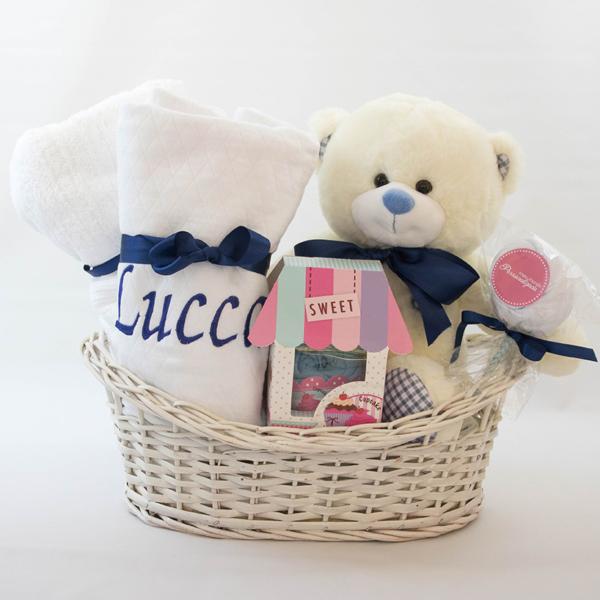 Cesta Presente Bebe Meninos com Toalha Azul Marinho e Branca