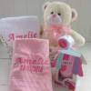 Cesta presente para bebe recém-nascido com manta bebê, toalha com capuz, babador, paninho de boca, body bebê e ursinho de pelúcia