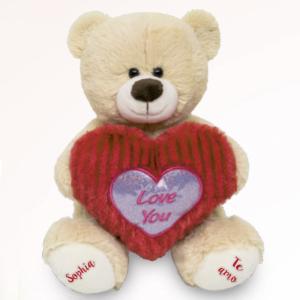 • urso de pelucia eu te amo beige