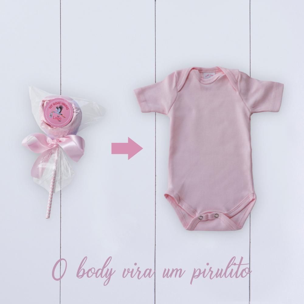 Body rosa em forma de pirulito
