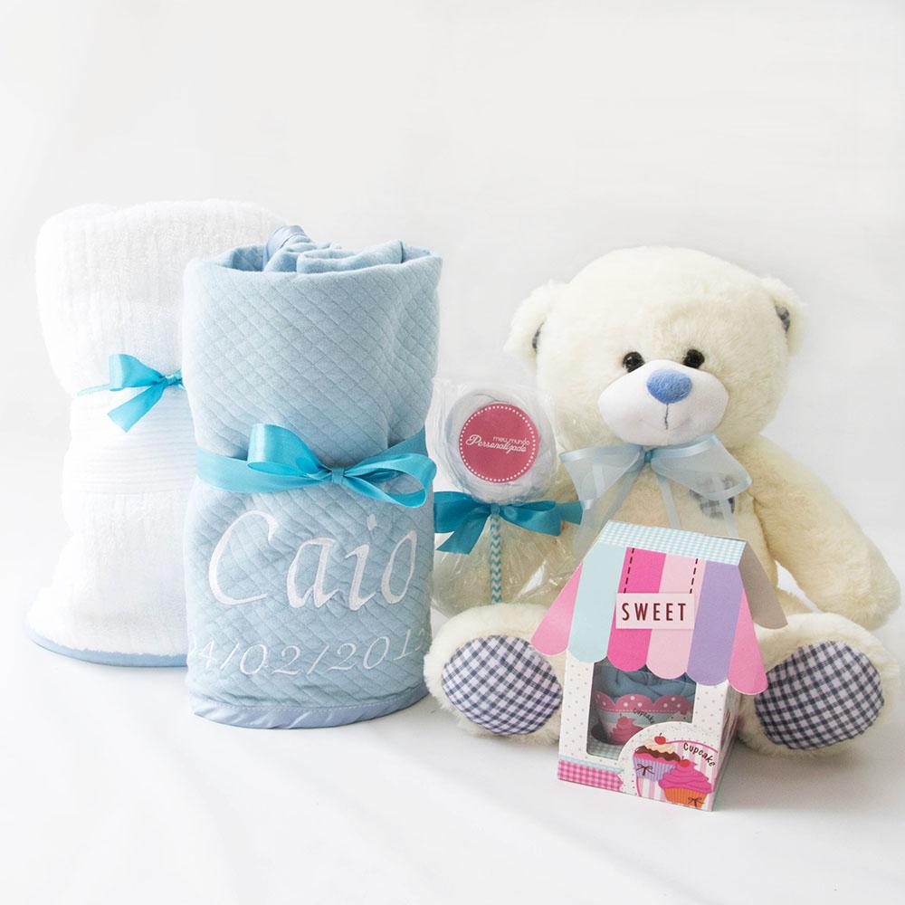 Cesta Presente Bebe com Toalha Felpuda – Azul Claro – Meninos – fora da cesta